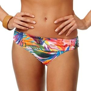 Lauren Tropical Palm Twist Shirred Hipster Bottoms